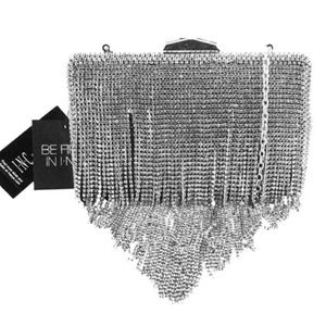INC CONCEPTS Silver Rhinestone Fringe Clutch$140.0